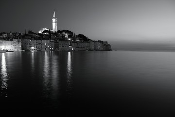 Rovinj, Croatia night - monochrome black white photo