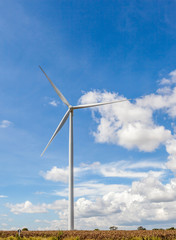 The wind turbines (windmills) against cloudy blue sky and golden