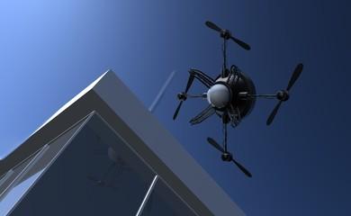 Spionage drone kijkt door ramen