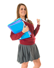 Lucky student over isolated white background