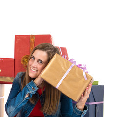 Christmas women holding gifts over white background