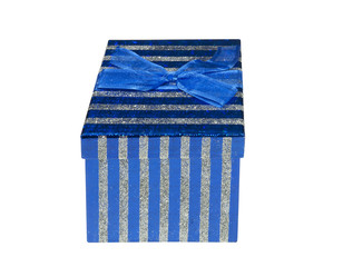 Sparkling blue and silver Gift Box on a white background