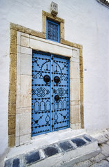 Tunisia, Sidi Bou Said, typical tunisian wooden frontdoor