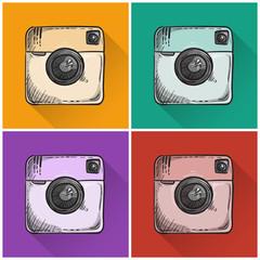 Set of drawn photo icons.