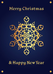 Elegant golden snowflake on a deep blue, christmas card