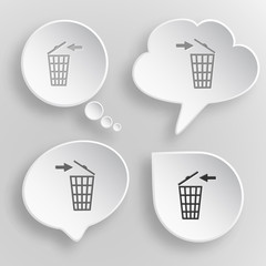 Recycling bin. White flat vector buttons on gray background.