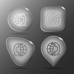Globe and phone. Glass buttons. Vector illustration.