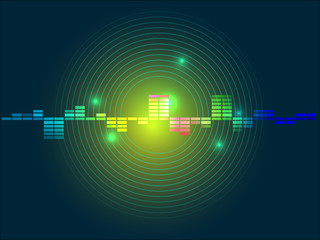 Abstract green yellow equalizer background