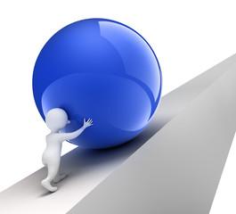 Männchen stemmt blaue Kugel bergauf