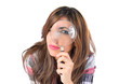 Girl magnifying glass over isolated white background - 73105094