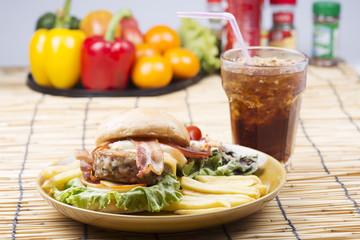 hamburger and Cola drink