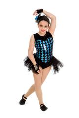 Jazz Dancing Child in Harlequin Recital Costume