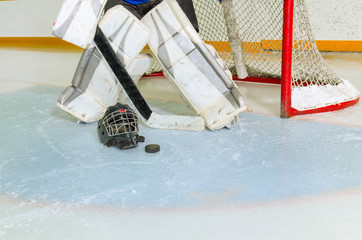 Hockey Goalie in Crease Getting Ready