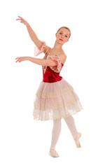 Elegant Teen Ballet Student in Red Spanish Costume