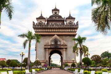 Laos, Vientiane - Patuxai Arch monument.