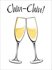 Vector illustration of champagne glasses
