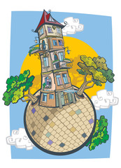 Old tower house in a comic style