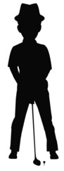 golfer in silhouette at tee up