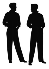 males talking in silhouette