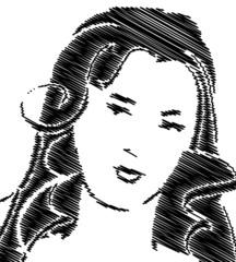 Portrait de femme griffonné