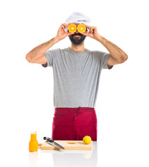 Chef with orange like glasses