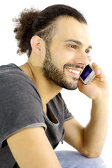 portrait of cool handsome italian man on the phone