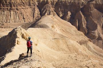 Woman standing desert mountain peak ridge.