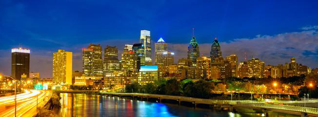 Skyline of Philadelphia downtown at dusk, USA