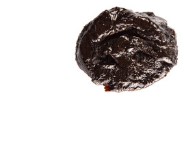 Dried plum or prune over white background