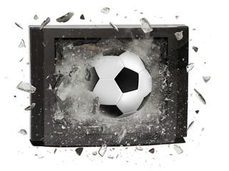 soccer ball crashed television