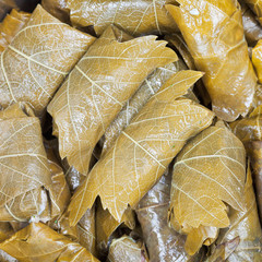 Caucasus dolma from pickled vine leaves and mince