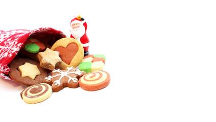 Säckchen mit Plätzchen und Weihnachtsmann