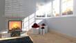 canvas print picture - Weihnachtliches Wohnzimmer mit Kamin