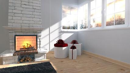Weihnachtliches Wohnzimmer mit Kamin