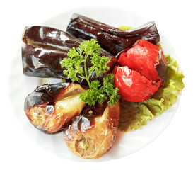 above view of grilled vegetables on plate isolated