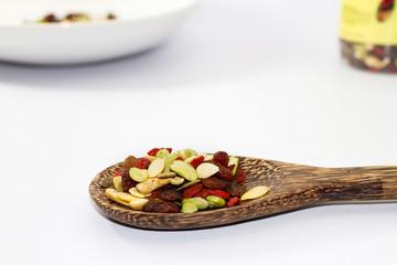 Organic mixed nut on white background