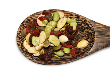 Organic mixed nut on white background