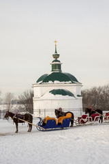 "Horses with sled for conducting tours of Suzdal. ""Golden Ring"" o"