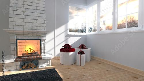canvas print picture Weihnachtliches Wohnzimmer mit Kamin
