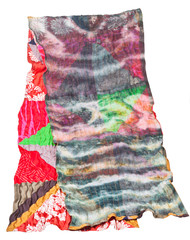 patchwork and batik scarf isolated on white