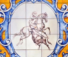 Escena taurina, torero a caballo