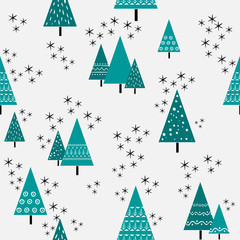 Seamless christmas tree pattern in flat style. Vector.