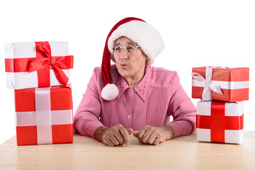 old woman with gift boxes
