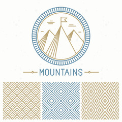 Vector mountain design kit
