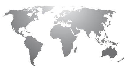World map countries gray gradient