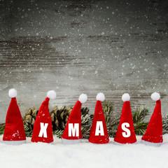 Xmas-Weihnachtsmützen-Holzwand