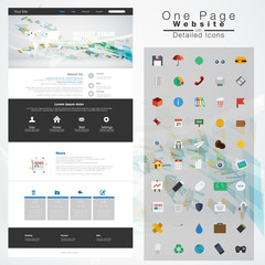 One page website design template. All in one set for website des