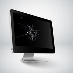 Broken screen of a computer