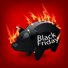 Fiery black friday sale design with Piggy bank