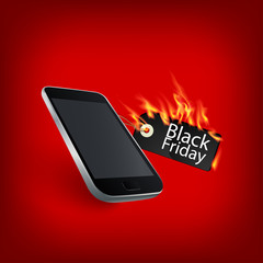Fiery black friday sale design with Smart Phone